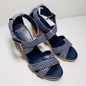 Cole Haan Blue Striped Wedges 7.5